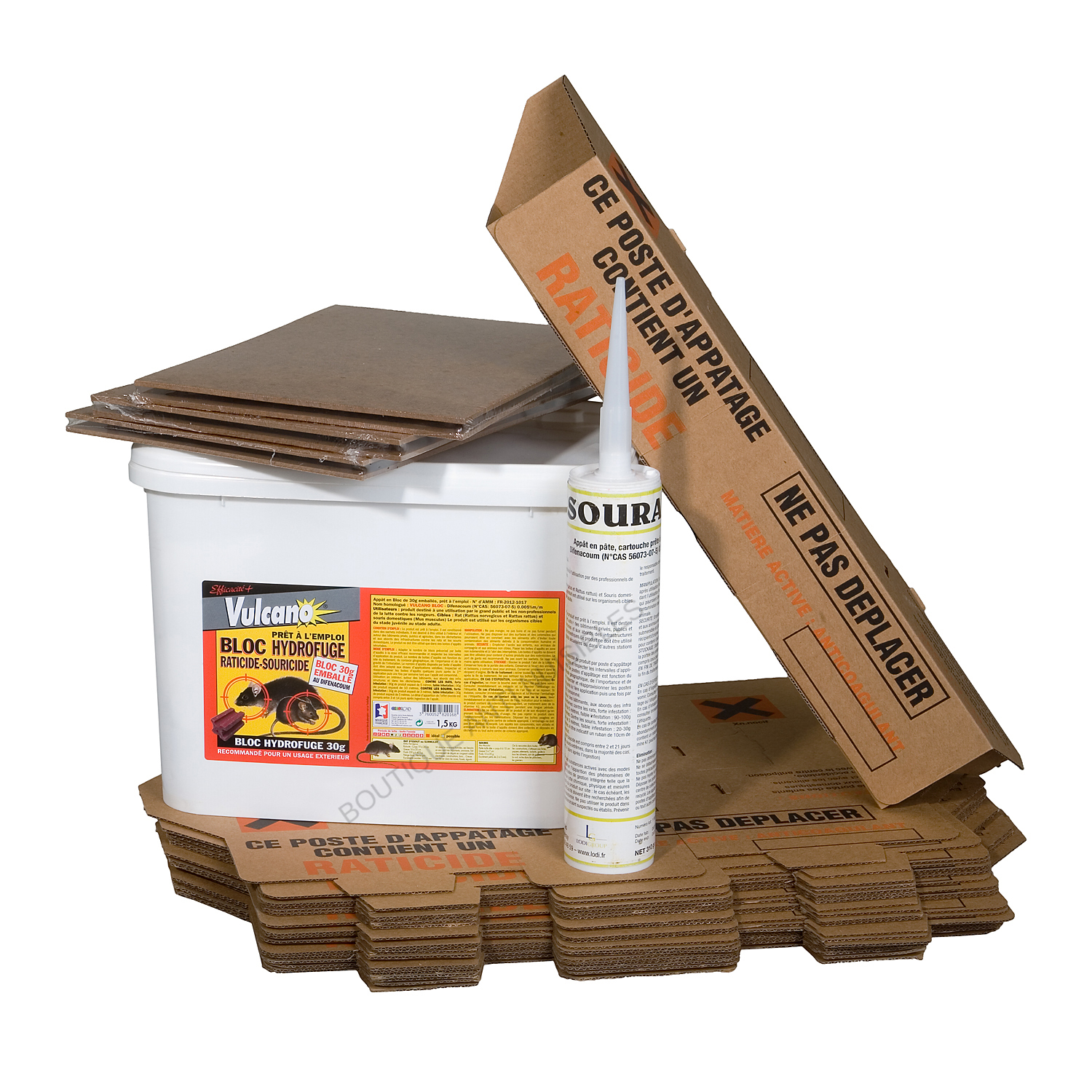 PACK ANTI RAT SCEAU BLOCS 1.5 KG + GEL SOURAXA + 6 PLAQUES DE GLUE